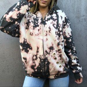 LEVI'S Gray acid wash custom zip up hoodie